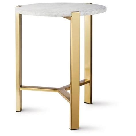 marble accent tables nate berkus round gold accent table with marble top