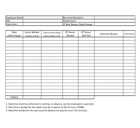 21 Overtime Sheet Templates Free Sle Exle Format Download Free Premium Templates Free Excel Timesheet Template With Formulas