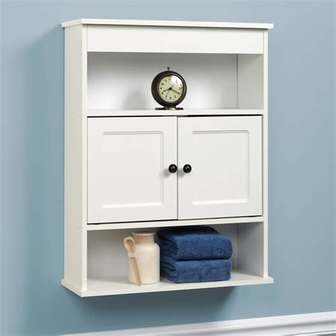 Cabinet Wall Bathroom Storage White Shelf Organizer