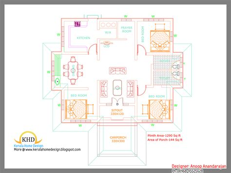 kerala house plans 1000 square foot single floor single floor house plan and elevation 1290 sq ft