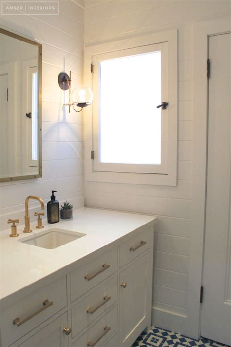 white vanity with brass pulls cottage bathroom amber