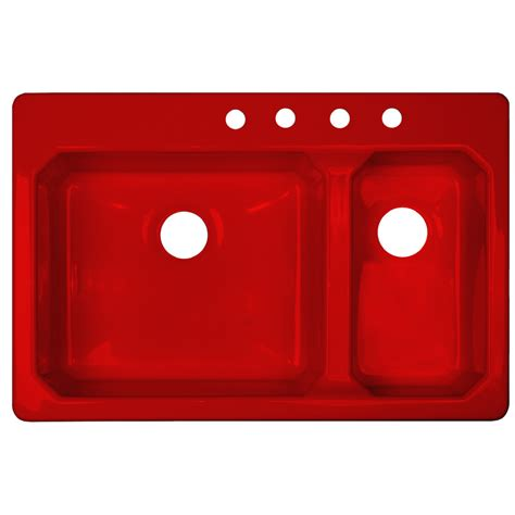 red kitchen sink shop corstone cranston gloss red double basin acrylic drop