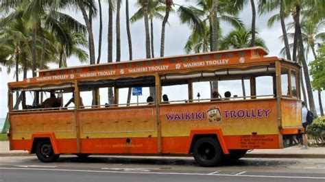 honolulu city lights trolley tram trolley bus great way to look around picture of