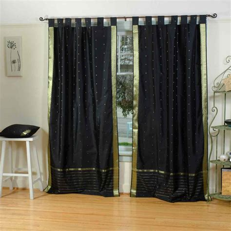 Sheer Black Curtains Black Tab Top Sheer Sari Curtain Drape Panel Ebay