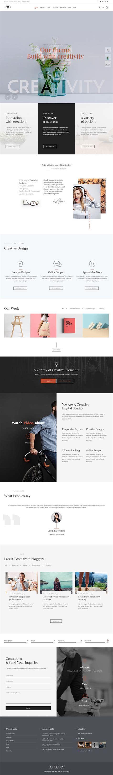 wordpress unique layout zad the unique multiuse theme wordpress themes