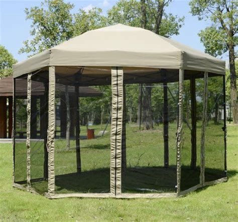 Patio Netting Portable Hexagonal Garden Canopy W Mesh Netting Outdoor