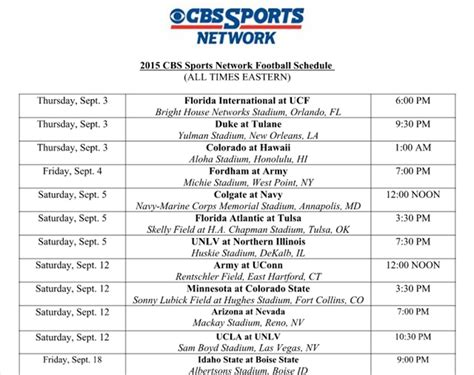 section v football schedule cbs sports network adds jay feely announces 2015 college