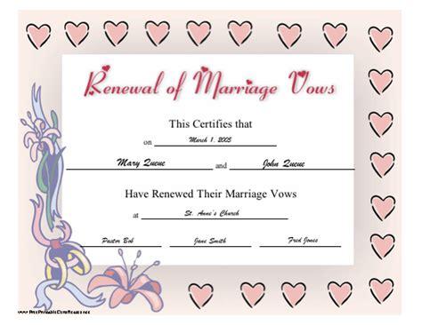 vow renewal certificate template renewal of wedding vows certificate template