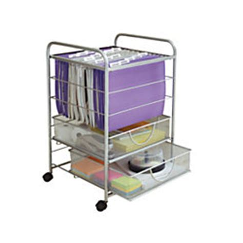 rolling file cart neat mesh rolling file cart with drawers silver by office depot officemax