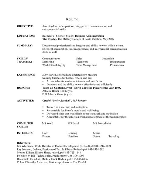 business administration entry level resume sales