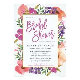 Floral Bridal Shower Invitations by Floral Invitations Announcements Zazzle