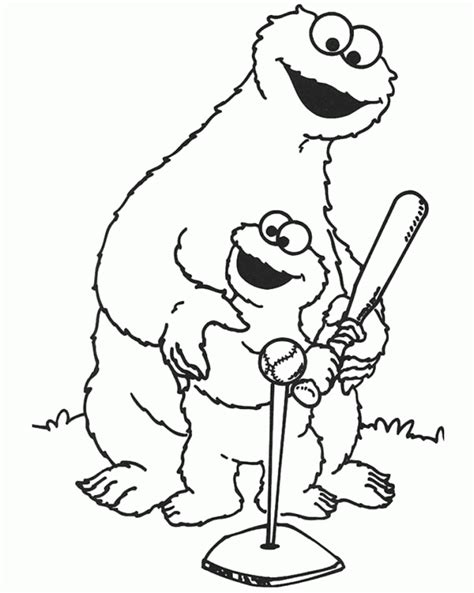 cookie monster coloring page pdf monster cookie and kids playing baseball coloring pages