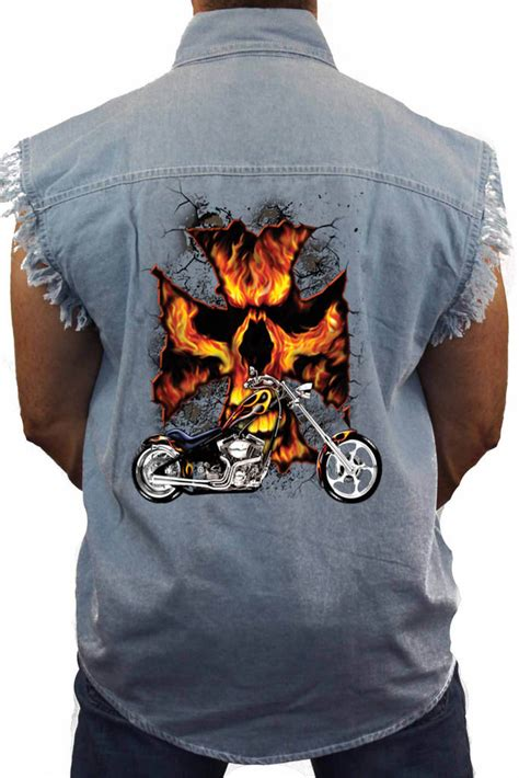 Hoodie Mechanic Skeleton s sleeveless denim biker shirt motorcycle skull cross chopper skeleton ebay