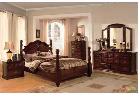 traditional bedroom furniture sets tuscan ii classic traditional poster bed dark pine bedroom