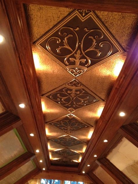 Tin Tiles For Backsplash In Kitchen coffered ceiling with antique gold inserts by decorative
