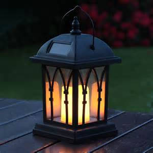 Black Solar Candle Lantern 27cm