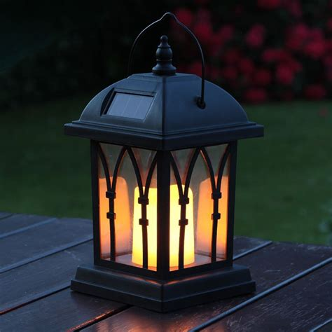 Black Solar Candle Lantern 27cm Patio Lantern Lights