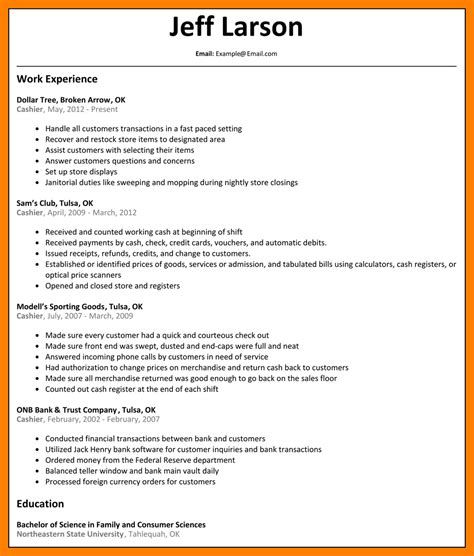 Resume Exles For A Cashier by 13 Resumes Exles For Cashier Apply Form