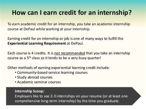 How Many Credit Hours For Depaul Mba by Internship Program Depaul Uip Orientation