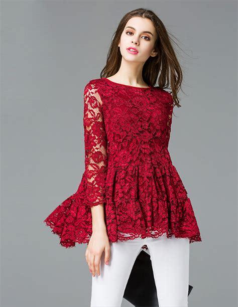 Lace Blouse Black Flower 2016 plus size floral lace blouse black color a line design xl 5xl flowers