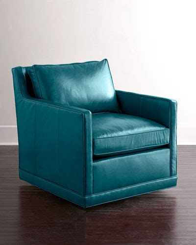Blue Leather Swivel Chair by Nms15 H7jxd