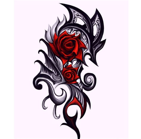 rose triball tattoo clipart best