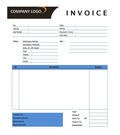 Advertising Invoice Template Agency Printable Word Excel Invoice Templates Formats Marketing Agency Template