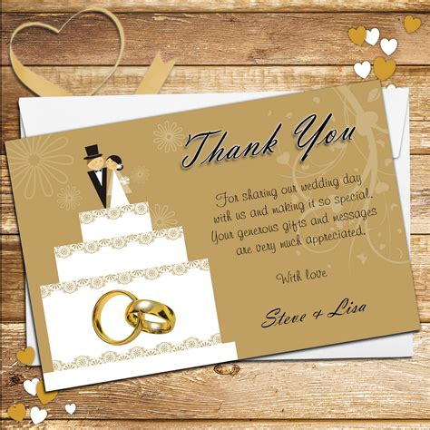 Wedding For You by 10 Personalised Cake Topper Wedding Thank You Cards N178