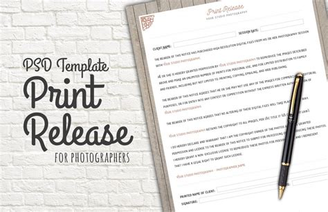 Photo Release Form Template Deals For Your Studio Photography Print Release Form Template