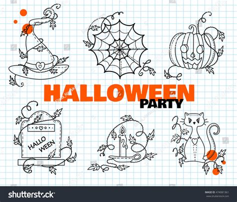 doodle witches hat puzzle vector set elements witches hat stock vector