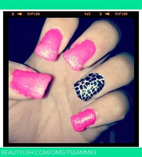patterned acrylic nails pink sparkle pattern acrylic nails samantha j s