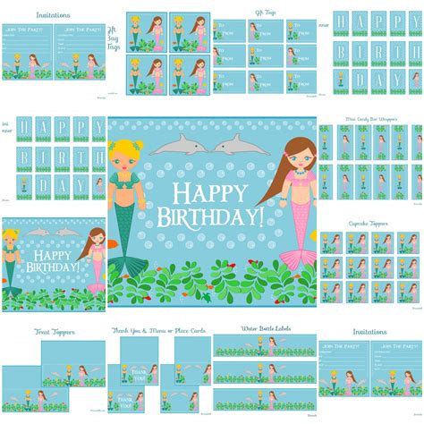 printable mermaid party decorations free mermaid birthday party printables from printabelle