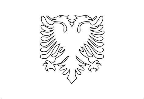 187 Albania Black White Line Art Coloring Book Colouring Albanian Flag Coloring Page