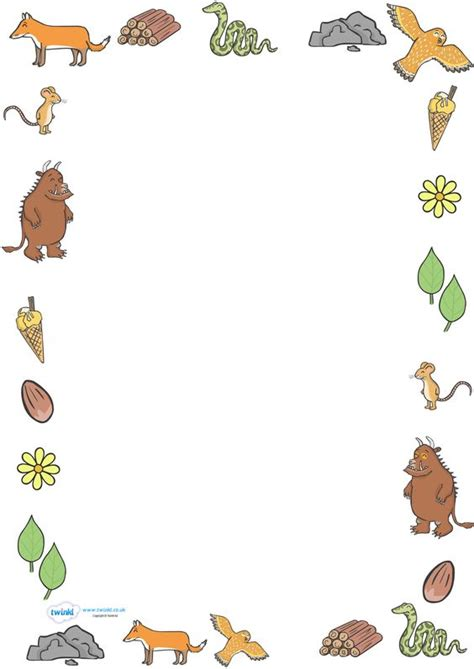twinkl writing paper twinkl resources gt gt the gruffalo page borders