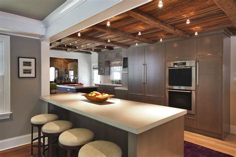 kitchen ceiling lights Kitchen Transitional with baseboards breakfast bar cable