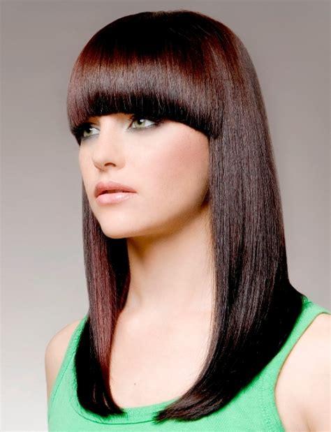 long hairstyles 2015 colours brązowy mahoń proste włosy z grzywką fryzury galeria