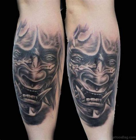 realistic hannya mask tattoo 40 impressive mask tattoos for leg