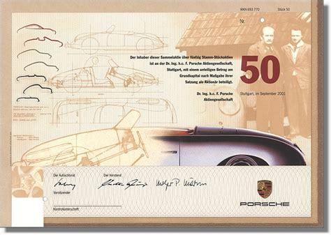 Porsche Aktien Kaufen by Porsche Ag Extrem Seltene Porsche Stammaktie Hahn