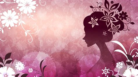 wallpaper pink theme vector woman with flowers pink theme wallpaper 1920x1080