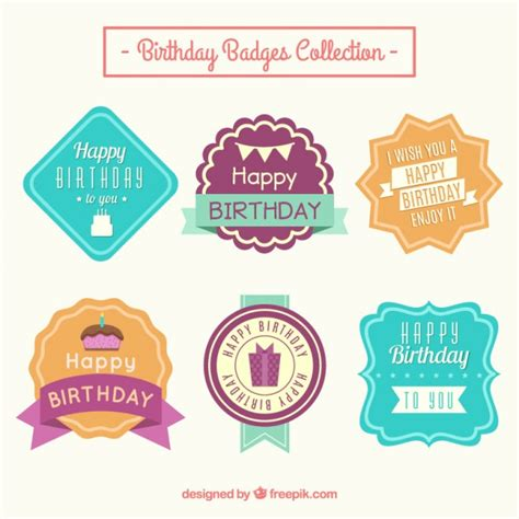 colored labels colored birthday labels in vintage style vector free