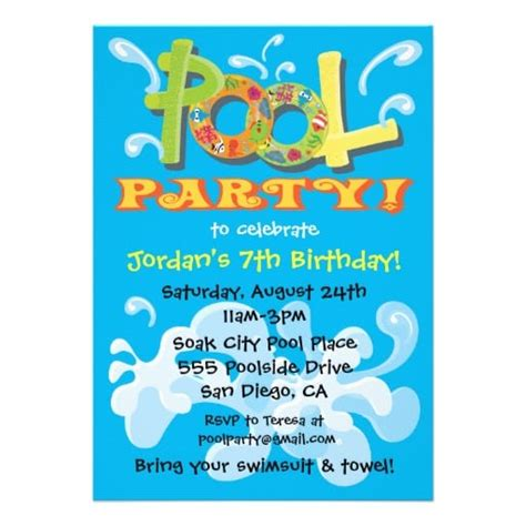 Word Pool Party Invitation Template Pool Invitations Templates Free