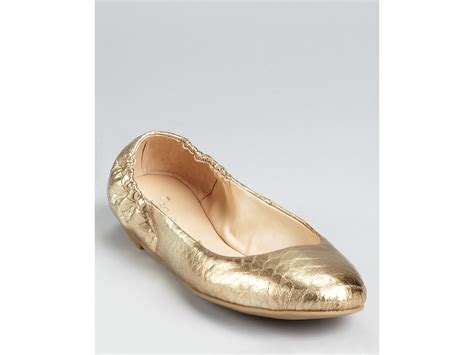 gold shoes flats boutique 9 ballet flats augie snake print in gold lyst