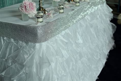 tutu mesh table skirt w satin edge easy to use velcro
