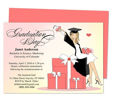 invitation card template graduation best 46 printable diy graduation announcements templates