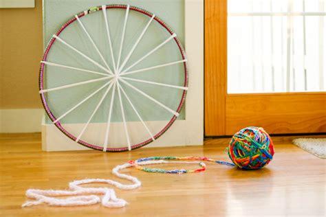 hula hoop rugs woven finger knitting hula hoop rug diy