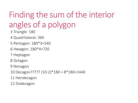 Find The Sum Of The Interior Angles Of An Octagon by Ppt Geometry Unit 7 Polygons Powerpoint Presentation