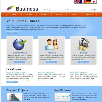 future business template free website templates in css