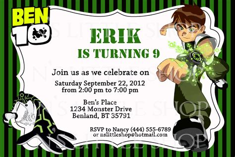 Ben 10 Birthday Invitation Cards Templates items similar to ben 10 inspired birthday invitation card
