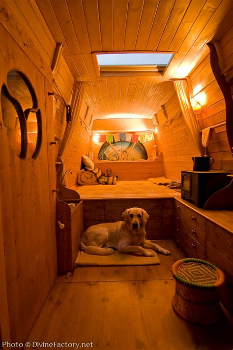 man turns work van  diy motorhome tiny cabin