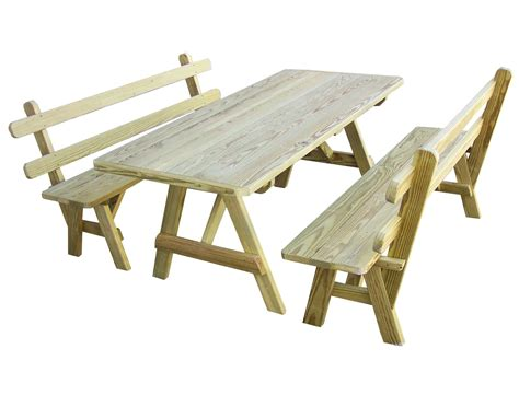picnic tables and benches treated pine picnic table w 2 backed benches